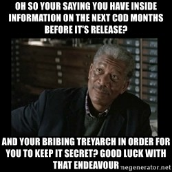 Lucius Fox - Oh so your saying you have inside information on the next cod months before it's release? And your bribing treyarch in order for you to keep it secret? Good luck with that ENDEAVOUR
