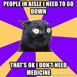 Anxiety Cat - people in aisle i need to go down that's ok i don't need medicine
