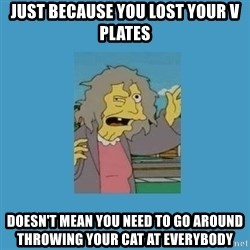 crazy cat lady simpsons - Just because you lost your v plates doesn't mean you need to go around throwing your cat at everybody