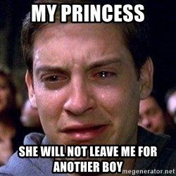 spiderman cry - my princess she will not leave me for another boy