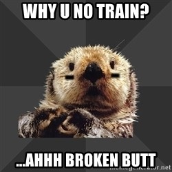 Roller Derby Otter - Why u no train? ...Ahhh broken butt