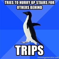 Socially Awkward Penguin - Tries to hurry up stairs for others behind Trips