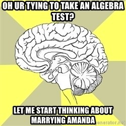 Traitor Brain - Oh Ur tying to take an algebra test? Let me Start thinking aBout marrying amanda
