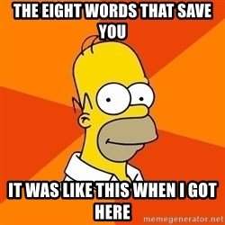 Homer Advice - the Eight words that save you it was like this when i got here