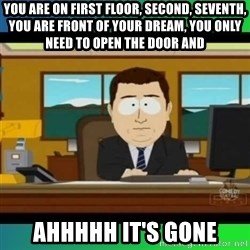 AH ITS GONE - you are on first floor, second, seventh, you are front of your dream, you only need to open the door AND Ahhhhh it's gone