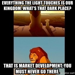 Lion King Shadowy Place - Everything the light touches is our kingdom. what's that dark place? That is market development. you must never go there.