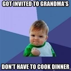 Victory Baby with background - Got invited to Grandma's Don't have to cook Dinner