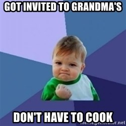 Victory Baby with background - Got invited to grandma's don't have to cook