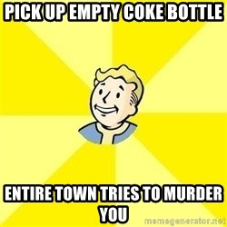 Fallout 3 - pick up empty coke bottle entire town tries to murder you