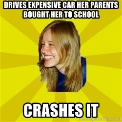 Trologirl - Drives Expensive car her parents bought her to school crashes it