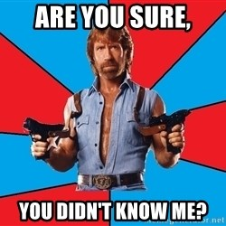 Chuck Norris  - are you sure, YOU DIDN'T KNOW ME?