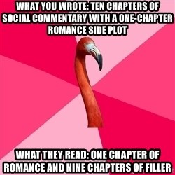 Fanfic Flamingo - what you wrote: ten chapters of social commentary with a one-chapter romance side plot what they read: one chapter of romance and nine chapters of filler