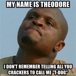 "Token T-Dog - My name is Theodore  I don't remember telling all you crackers to call me ""T-Dog"""