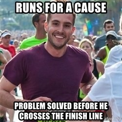 Incredibly photogenic guy - Runs for a cause Problem solved before he crosses the finish line