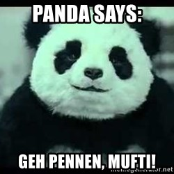 Never say no to Panda - Panda Says: geh pennen, Mufti!