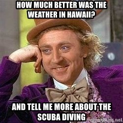 Willy Wonka - How much better was the weather in hawaii? and tell me more about the scuba diving