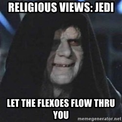 Sith Lord - Religious Views: Jedi Let the flexoes flow thru you