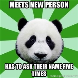 Dyspraxic Panda - meets new person has to ask their name five times