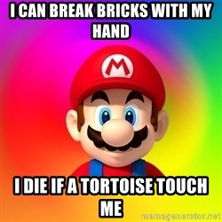 Mario Says - i can break bricks with my hand i die if a tortoise touch me