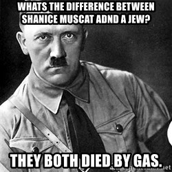 Hitler Advice - wHATS THE DIFFERENCE BETWEEN SHANICE MUSCAT ADND A jEW? tHEY BOTH DIED BY GAS.