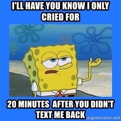 spongebob i only cried for 20 minutes - I'll have you know I only cried for 20 minutes  after you didn't text me back