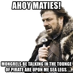 Winter is Coming - ahoy maties! mongrels be talking in the tounge of pirate are upon me sea legs.