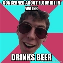 Hypocrite Gordon - concerned about flouride in water drinks beer