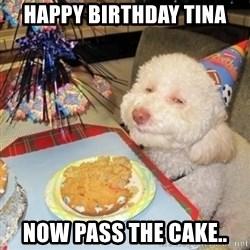 Birthday dog - Happy Birthday tina now pass the cake..