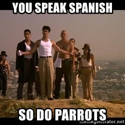 Blood in blood out - You speak Spanish  So do parrots