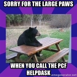 waiting bear - sORRY FOR THE LARGE pAWS wHEN YOU cALL THE pcf hELPDASK