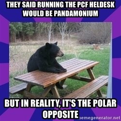 waiting bear - They said running the PCF heldesk would be Pandamonium But in reality, it's the polar opposite