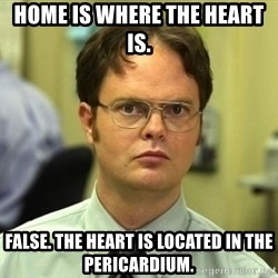 Dwight Schrute - HOme is where the heart is. False. The heart is located in the pericardium.