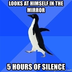 Socially Awkward Penguin - looks at hımself ın the mırror 5 hours of sılence