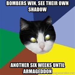 Winnipeg Cat - bombers win, see their own shadow another six weeks until armageddon