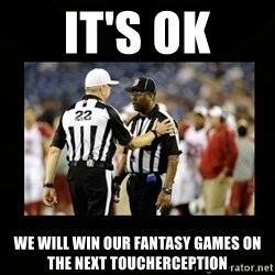 Replacement Ref - it's ok we will win our fantasy games on the next toucherception
