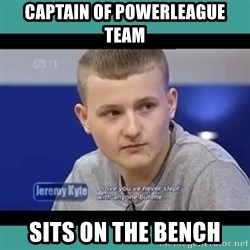 Sympathy Sacha - Captain of powerleague team sits on the bench