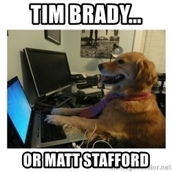No Computer Idea Dog - Tim Brady... or Matt Stafford