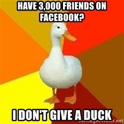 Technologically Impaired Duck - have 3,000 friends on facebook? I don't give a duck
