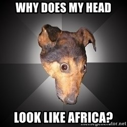 Depression Dog - why does my head look like africa?