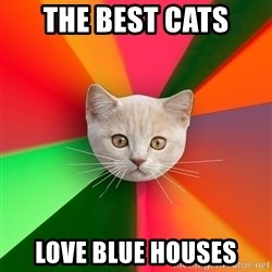 Advice Cat - the best cats love blue houses