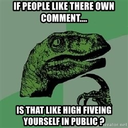 Philosoraptor - if people like there own COMMENT....  is that like high fiveing YOURSELF in public ?