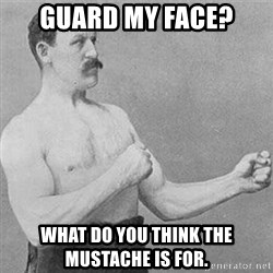 Boxer Gentelmen - Guard my face? What do you think the Mustache is for.