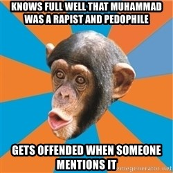 Stupid Monkey - Knows full well that Muhammad was a rapist and pedophile gets offended when someone mentions it