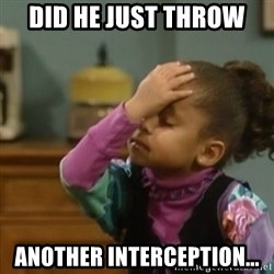 olivia cosby facepalm  - Did he just throw  another interception...