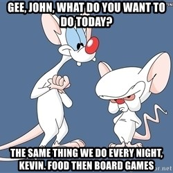 Pinky And The Brain - gee, john, what do you want to do today? the same thing we do every night, kevin. Food then board games