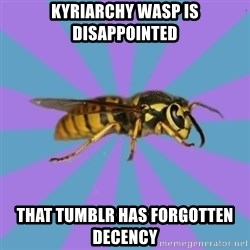 kyriarchy wasp - kyriarchy wasp is disappointed that tumblr has forgotten decency