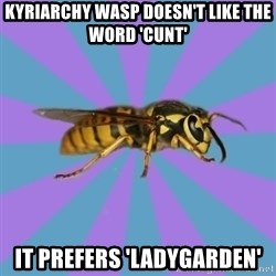 kyriarchy wasp - kyriarchy wasp doesn't like the word 'cunt' it prefers 'ladygarden'