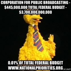 Political Big Bird - corporation for public broadcasting - $445,000,000 Total federal budget - $3,700,000,000,000  0.01% of total federal budget www.nationalpriorities.org