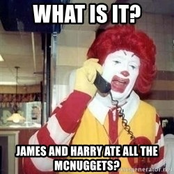 Ronald Mcdonald Call - what is it? james and harry ate all the mcnuggets?
