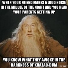 Gandalf1 - When your friend makes a loud noise in the middle of the night and you hear your parents getting up you know what they awoke in the darkness of khazad-dum